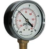 Winters PEM Series Steel Dual Scale Economical All Purpose Pressure Gauge with Brass Internals, 30 Hg Vacuum-0-30 psi/kpa, 2-1/2