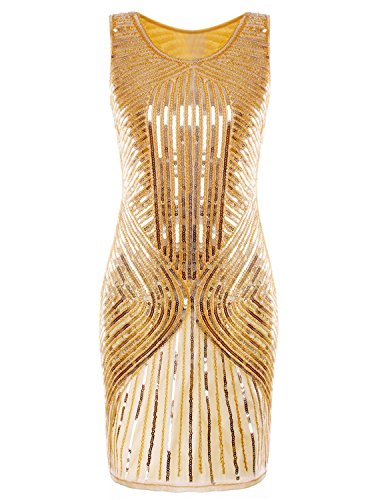 [Vijiv Women's 1920s Sequined Inspired Beaded The Gatsby Flapper Dress Gold L] (Gold Flapper Dress)