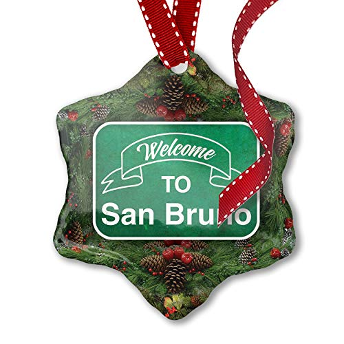 NEONBLOND Christmas Ornament Green Sign Welcome to San ()