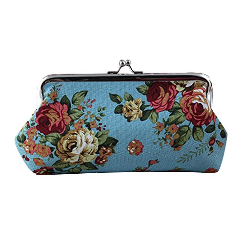 Black Clutch Mini Pattern Women's Hasp Flower Wallet Blue Handbag Purse Coin Bag Pouch gRwCFqc