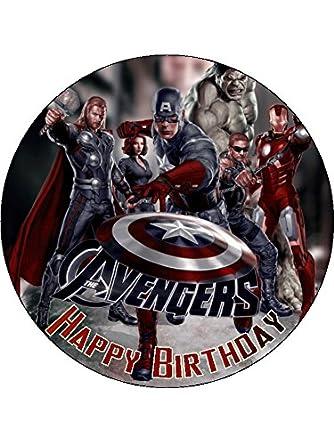 Avengers Super Hero 75 Round personalised birthday cake topper