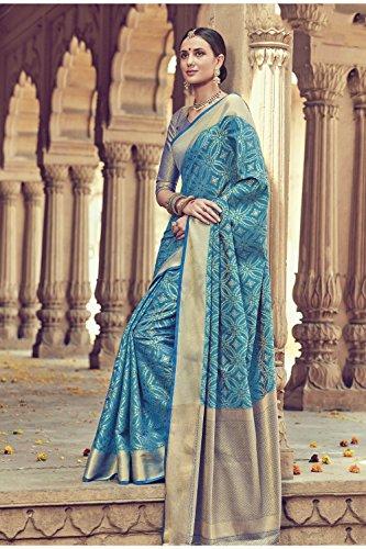 Da Facioun Indian Sarees For Women Wedding Designer Party Wear Traditional Sari. Da Facioun Sari Indiani Per Le Donne Di Nozze Partito Progettista Indossare Sari Tradizionale. Sky Blue 3 Cielo Blu 3