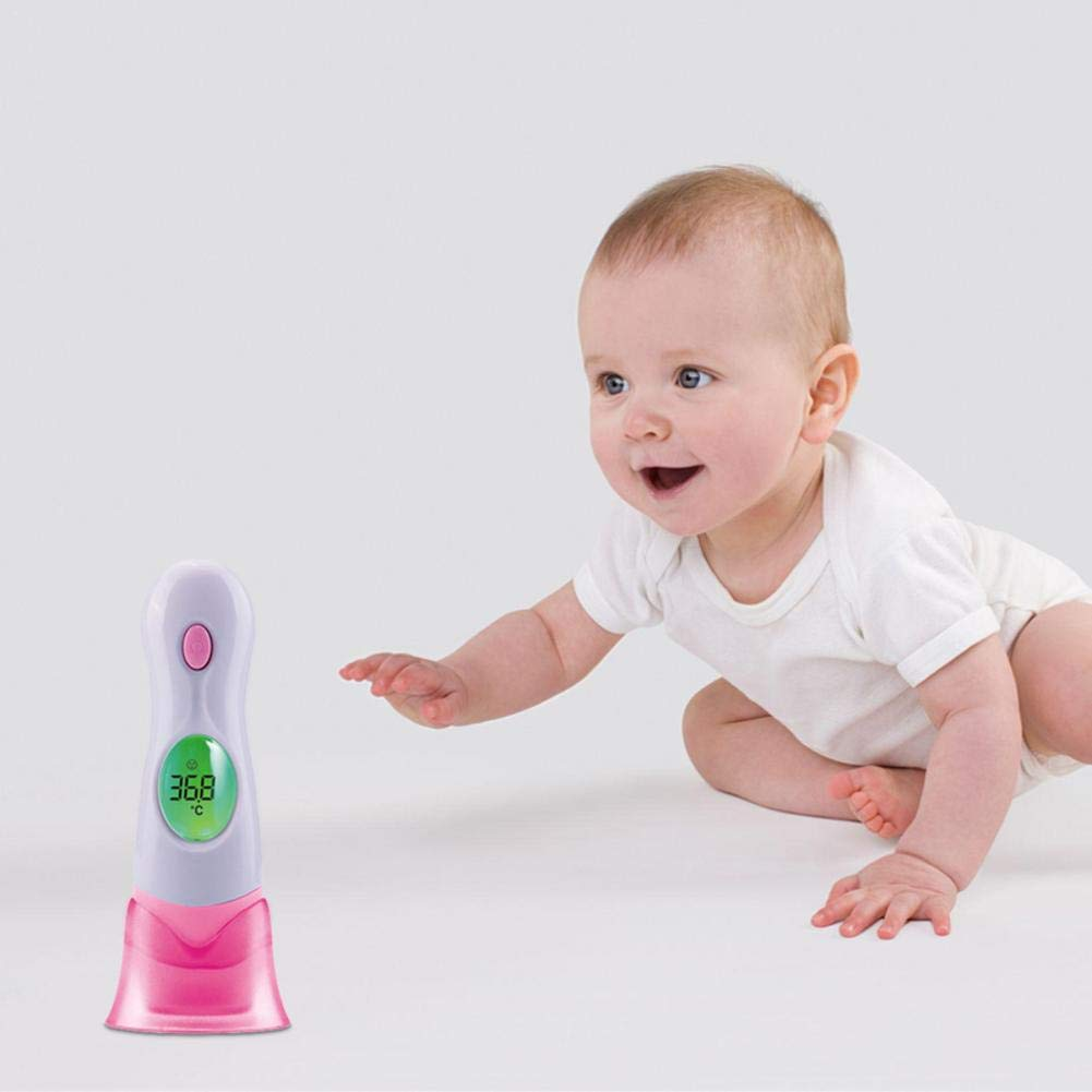 bambini piccoli adulti iYoung 8 in 1 schermo LCD Indicatore di febbre medica per termometro digitale per orecchio e fronte di bambini ad infrarossi Adatto per neonati oggetti e termometri ambiental