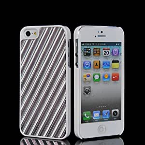 SHOPPINGBOX Plastic And Brushed Aluminum Metal Stripe Skin Plate Back Shell Cover Case With Screen Protector For Apple Iphone 5 5G 5S Babypink