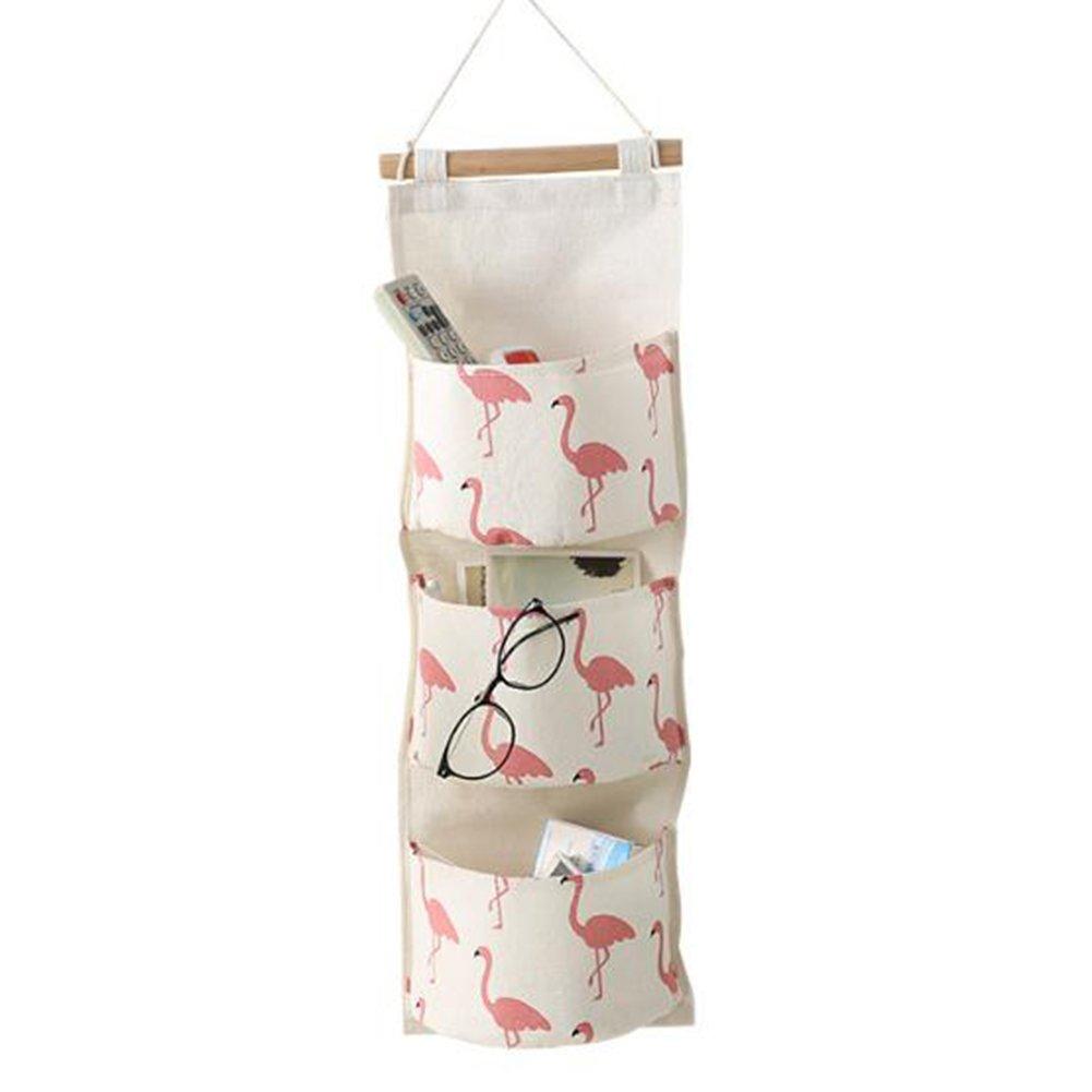 LAAT Hanging Storage Bag Hanging Pocket Cotton Linen Wall Door Closet Organizer with 3 Pockets for Bathroom Living Room Bedroom Kitchen Decoration