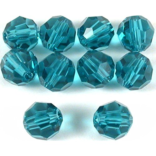 10 Indicolite Round Swarovski Crystal Beads 5000 6mm