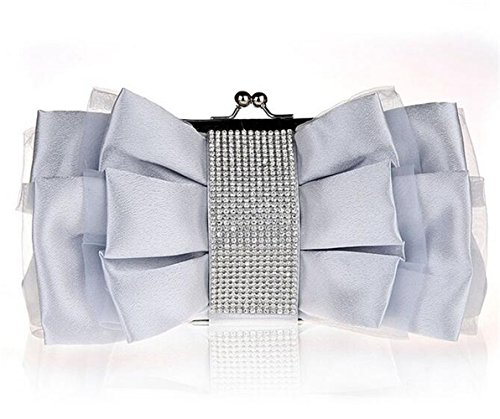 ISHOW de lazo seda Strass cena cluthes bolso para boda fiesta plata