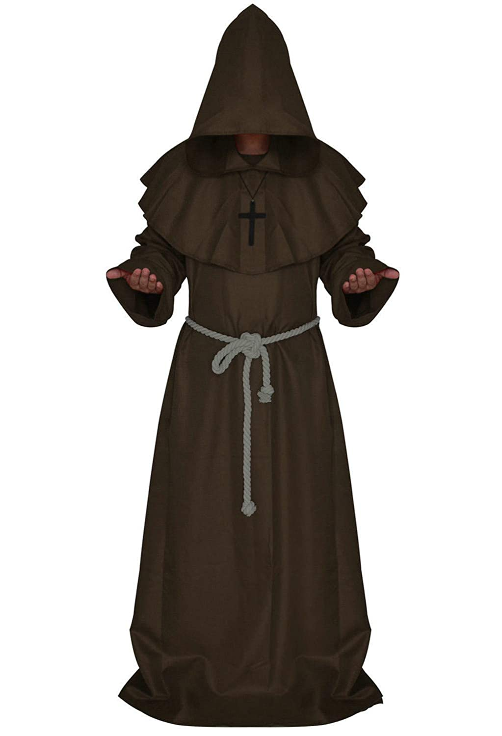 Men's Halloween Cosplay Costume Friar Medieval Hooded Monk Priest Robe Tunic