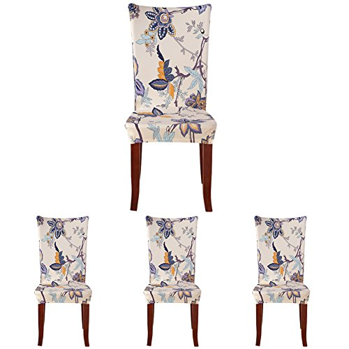 ColorBird Flower Series Spandex Fabric Chair Slipcovers Removable Universal Stretch Elastic Chair Protector Covers for Dining Room, Hotel, Banquet, Ceremony (Set of 4, Corn Poppy)