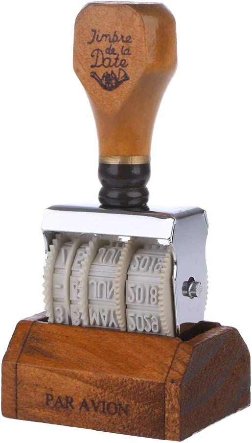 KANGneei Date Stamp Wooden Date Stamp for DIY Scrapbooking Craft Decor Rolling Wheel Vintage Supply 1#