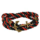 Vintage Nautical Anchor Charm Multiplayer Rope Twining Weave Nylon Rope Bracelet By Rivertree
