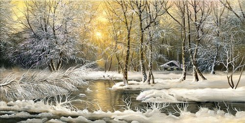 Startonight Canvas Wall Art Winter on the Lake, Landscape Glow in the Dark, Dual View Surprise Artwork Modern Framed Ready to Hang Wall Art 23.62 x 47.2 Inch 100% Original Art (Halloween Decor Hobby Lobby)