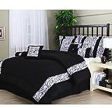 CA 7 Piece Girls Black White Zebra Stripes Comforter Queen Set, Exotic Animal Print Bedding African Zebra Striped Pattern Safari Themed Zoo Motif Tribal Africa Design, Polyester