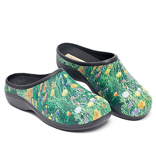 Waterproof Premium Garden Clogs With Arch Support-Meadow Design By Backdoorshoes, Meadow Design, Size 8 (Garden Shoes Waterproof)