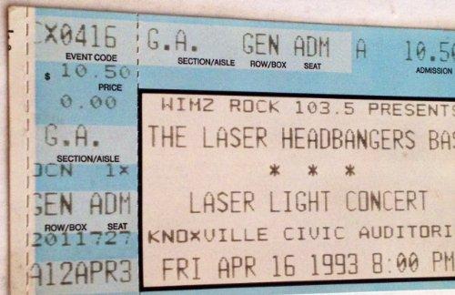 Tickets Bash (Laser Headbangers Bash Knoxville 4/16/93 Ticket Stub)