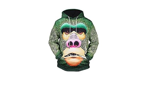 WEIYIGE Sudadera 3D Chaqueta con Capucha Animal Print Casual Jersey De Cuello Alto Ropa De Caballero: Amazon.es: Deportes y aire libre