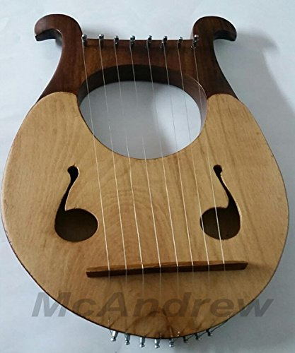McAndrew Lyre harp 8 metal strings in Beechwood two tone Extra string set tuning pegs by mcandrew