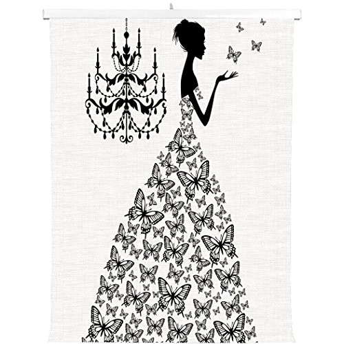Princess Candlestick (HommomH Print Canvas Wall Decoration Poster (12x16 inch) With Hanging ShaftMadame Butterfly Black Candlestick Princess Wedding Dress)