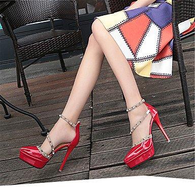 LvYuan-ggx Femme-Habillé Soirée & Evénement-Blanc Noir Rouge Rose-Talon Aiguille-Salomé Confort Chaussures formelles-Chaussures à Talons-Cuir Verni black 9wF20