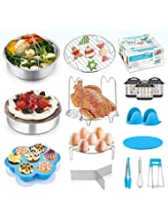 17 Pcs Pressure Cooker Accessories, P&P CHEF Blue Steamer Accessory Set for Cooking Steaming Serving - Steamer Basket, Cake Pan, Egg Bites Mold and Kitchen Tools (For 6/8 Qt)
