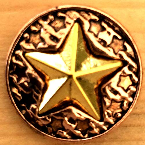 Snap.Chunk Button 20mm Rose Gold with Star Charm for Ginger Snap Style Jewelry SE-2692