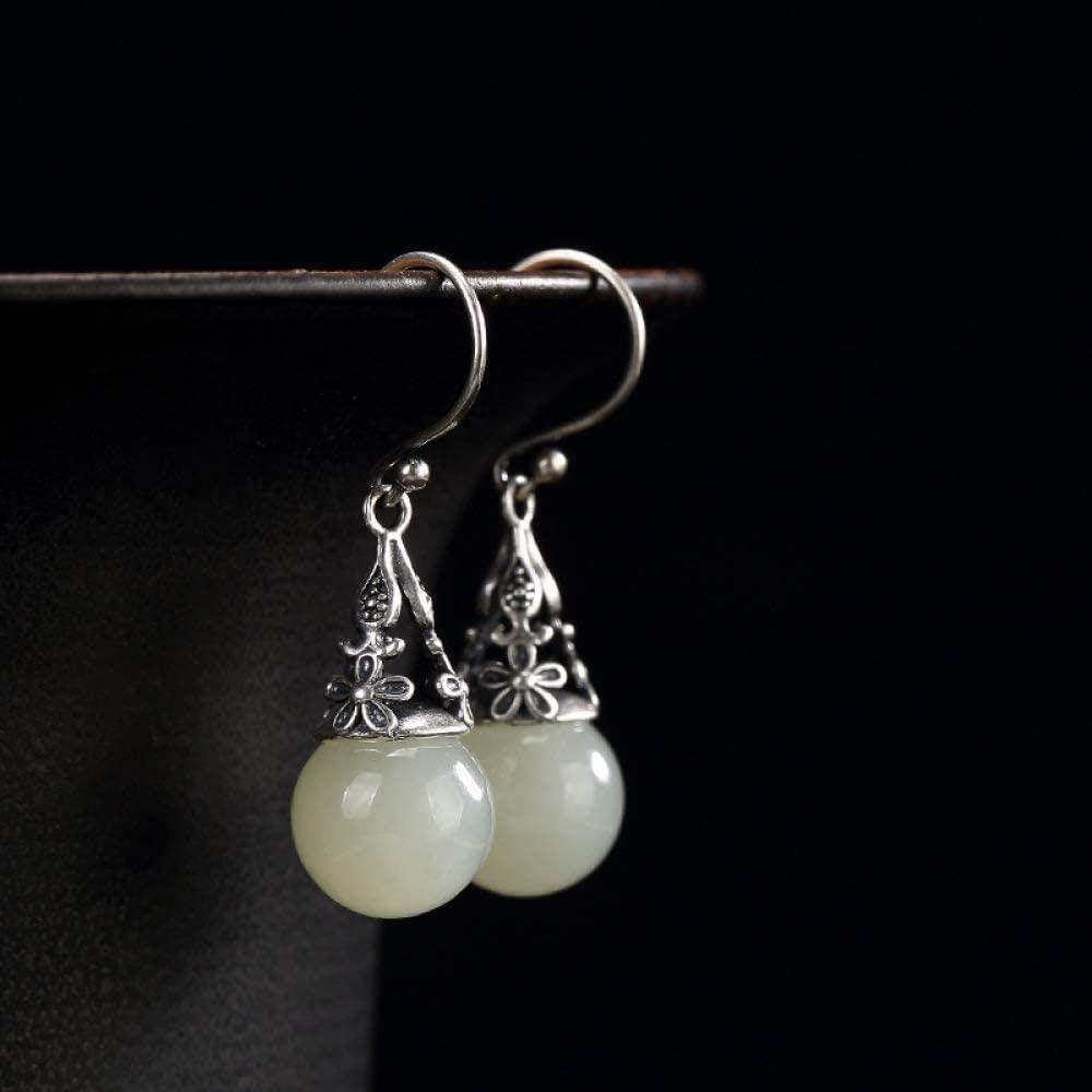 Pendientes de botón de jade S925 Incrustaciones de plata esterlina Hetian White Jade Beads Pendientes Joyas de mujer Long 2CM