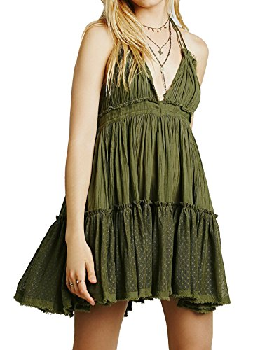 (R.Vivimos Womens Summer Halter Deep V Neck Sexy Patchwork Mini Short Dresses Large Olive Green)