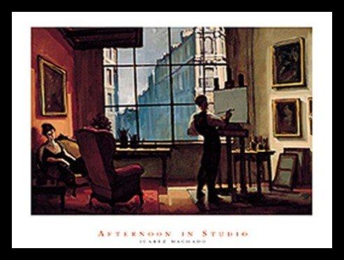 - Buyartforless Framed Afternoon in Studio by Juarez Machado 32x24 Art Print Poster Abstract Figurative Painting Man Painting in Studio Apartment Big Glass Window