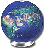 """Unique & Custom {7/8'' Inch} Set Of 3 Big """"Round"""" Opaque Marbles Made of Glass for Filling Vases, Games & Decor w/ Simple Educational Kid's World Globe Earth Design [Assorted Colors] w/ Stands"""