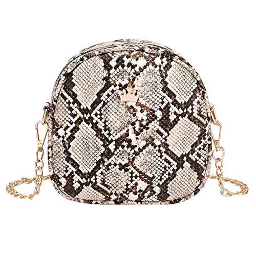 Snake Print Chain Shell Shoulder Handbags Women Crown Leather Crossbody Bag Female Serpentine Messenger Bag