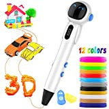 3D Pen, Upgraded Robot 3D Printing Drawing Pen with 12 Colors PLA Filament Refills, LED Indicator, Temperature Speed Control, Safe for Kids Gifts Adults DIY
