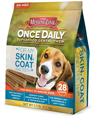 (The Missing Link - Once Daily All Natural Omega Dental Chew - Skin, Coat & Teeth - Small/Med Dog - 28 Day Supply)