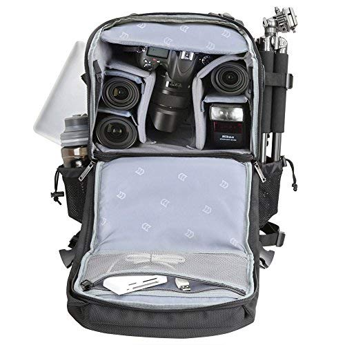 Evecase Extra Large Professional DSLR Camera / Laptop Travel Backpack Gadget Bag w Rain Cover For 15.6-inch Laptop, Tablet, Lens Kit Accessories, Full Frame Mirrorless Digital Cameras