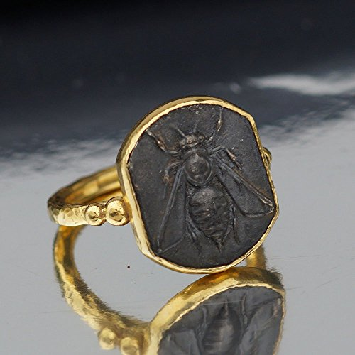 (Handmade Bee Coin Ring Roman Art 925 Sterling Silver By Omer 24k Gold Vermeil)