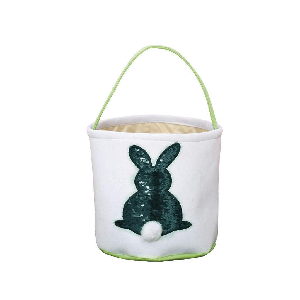 Garish Easter Sequin Egg Basket Rabbit Printed Canvas Gift Carry Eggs,Candy Bag, Storage Bag Green