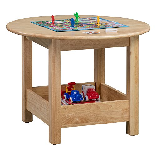 ECR4Kids Sit n Stash Solid Hardwood 32 Round Table with Storage for Kids Playroom