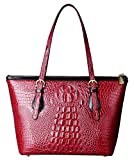 PIFUREN Fashion Women Handbags Crocodile Shoulder Bags C68726 Dark Red