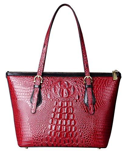 PIFUREN Fashion Women Handbags Crocodile Shoulder Bags C68726 Dark Red by PIFUREN