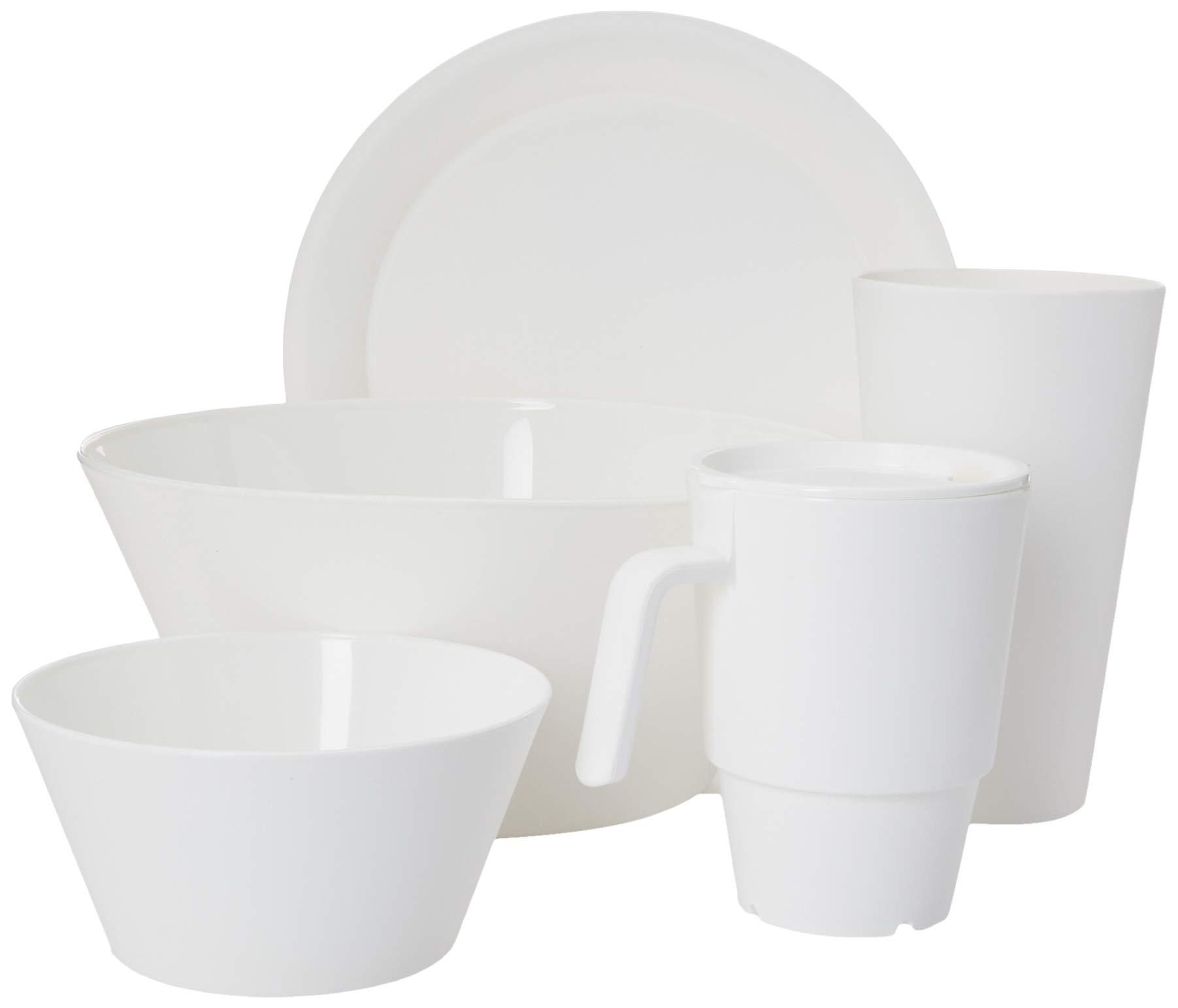 CreativeWare CH621 CH621WH 21 Piece My First Dorm/Apartment Plastic Dish Set, White