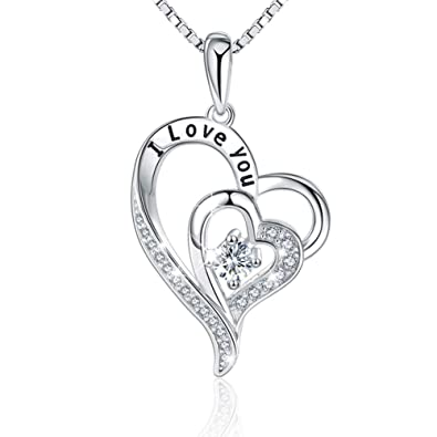 9144e74c293cc LILOING Jewelry for Women and Mom,Love Heart Pendant Necklace for  Girlfriend,Mothers day gifts