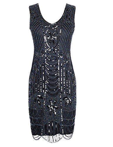 KAYAMIYA Women's Retro 1920s Beaded Sequined Leaf Art Deco Gatsby Flapper Dress