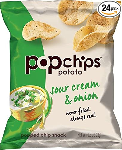 Popchips Potato Chips, Sour Cream & Onion Potato Chips, 24 Count Single Serve Bags (0.8 oz), Gluten Free, Low Fat, Kosher