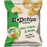 Popchips Potato Chips, Sour Cream & Onion Potato Chips, 24 Count Single Serve Bags (0.8 oz), Gluten Free, Low Fat, Kosher