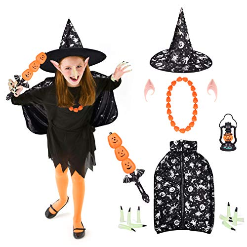 FUN LITTLE TOYS 18 PCs Kids Halloween Witch Costumes, Party Favor Kids Including Witch Cloak Hat, Pumpkin Sword Lantern (Sound & Light), Necklace, Witch Nails etc Halloween Cosplay Party Supplies