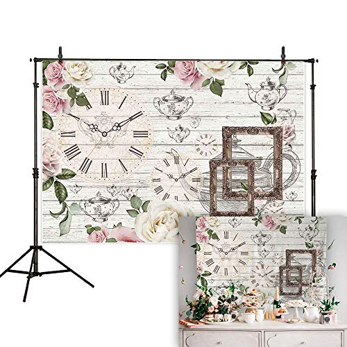 Tea Photo - Allenjoy 7x5ft Afternoon Tea Rustic Floral Backdrop Flower Teapot Clock White Wooden Background Baby Shower Bridal Wedding Studio Photography Newborn Birthday Party Banner Photo Shoot Booth