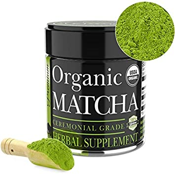 Organic Matcha Green Tea Powder By Kiss Me Organics - Increases Energy and Supports Weight Loss Goals and Healthy Metabolism 28 grams Powerful Antioxidant Japanese Culinary Grade 1oz