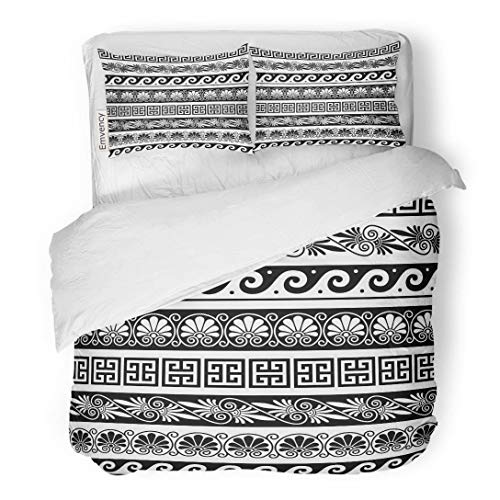 Tarolo Bedding Duvet Cover Set Athens Ancient Greek Pattern of Antique Borders from Greece Wave Vase Abstract 3 Piece King 104