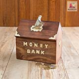 Rusticity Wood Piggy Bank for Kids and Adults - Hut design | Handmade | (6x5.5 in)