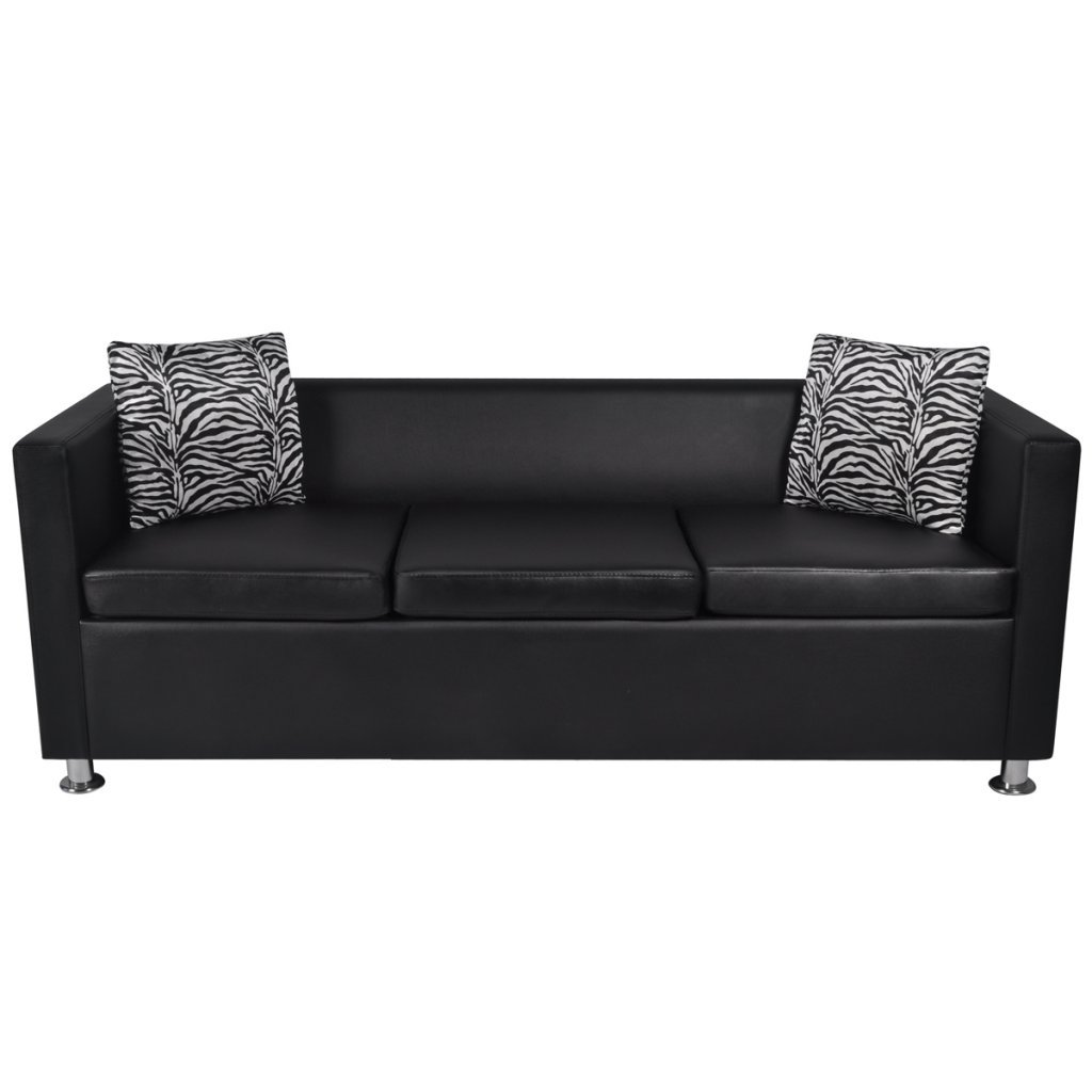 Amazon Com Daonanba Durable Artificial Leather 3 Seater Sofa Black