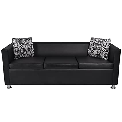 Festnight Faxu Leather 3 Seater Upholstered Sofa with Armrest and Pillows Modern Black Sofa Couches for Living Room Home Office Furniture
